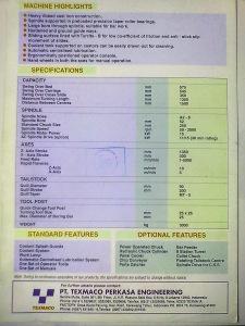 Spesifikasi Bubut CNC Perkasa