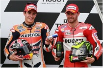 Marc Marquez 'kindly' tops up Cal Crutchlow's energy drink after qualifying for the Australian MotoGP