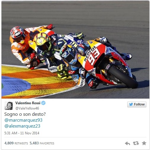 "Valentino Rossi, Twitter, Valencia MotoGP test (""Am I dreaming?"")"