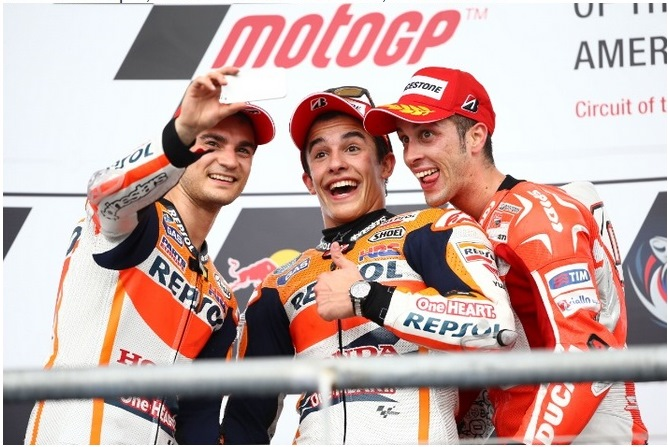 Pedrosa, Marquez & Dovisioso selfie :-)