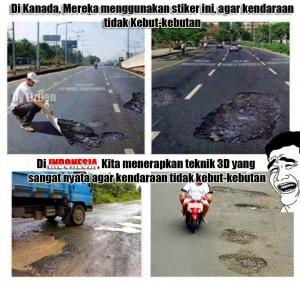 sticker jalan rusak di kanada dan di indonesia