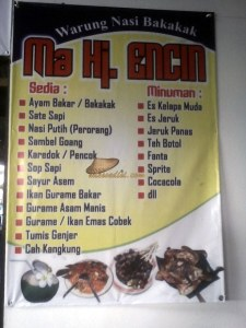 menu yang disediakan