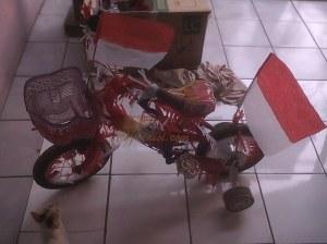 kucingnya tertarik sama sepeda hias milik Aira :D