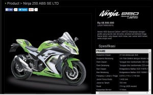 ninja 250 SE LTD hampir menyentuh angka 70 juta
