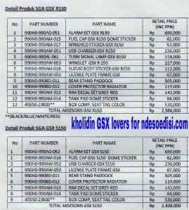 harga detail aksesoris GSX-R 150 dan GSX-S 150
